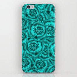 Bright turquoise roses iPhone Skin