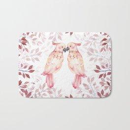 Watercolor burgundy pink tropical cockatoo bird floral Bath Mat
