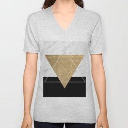 Golden marble deco geometric Unisex V-Neck