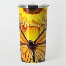 YELLOW SUNFLOWER ART & MONARCH BUTTERFLIES ABSTRACT Travel Mug
