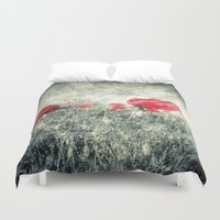 letters Duvet Covers featuring Poppies & Letters by ARTbyJWP
