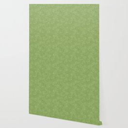 Green seamless curved shape pattern Wallpaper