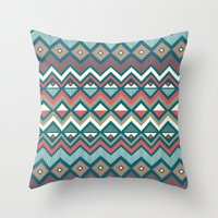 aztec Throw Pillows featuring Aztec. by Priscila Peress