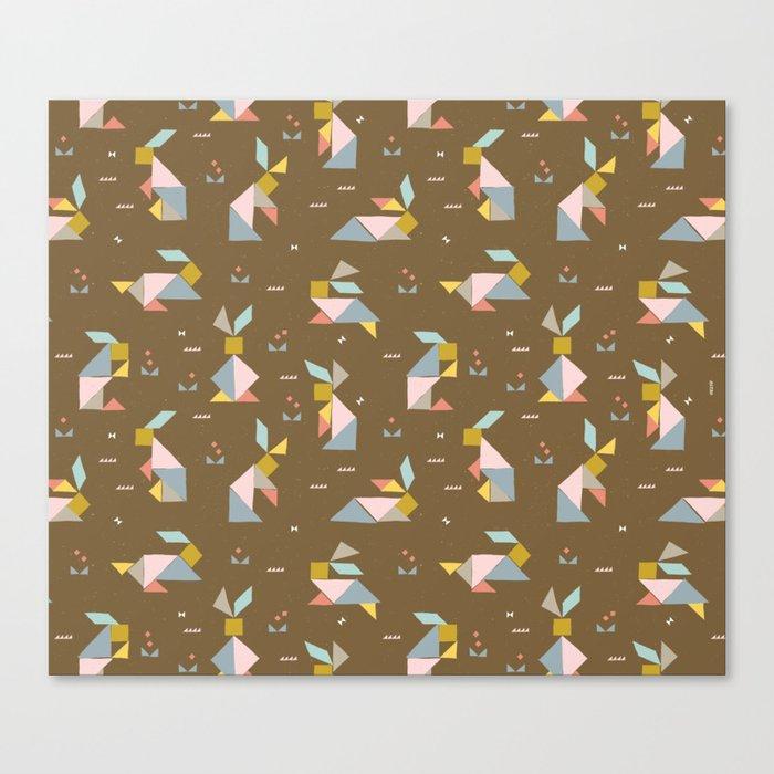 Tangram Bunnies M+M Nutmeg by Friztin Canvas Print