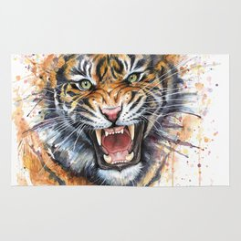 Tiger Watercolor Wild Animal Jungle Animals Rug