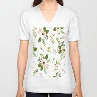 flower pattern V-neck T-shirts featuring Flower Pattern by Jenna Davis Designs