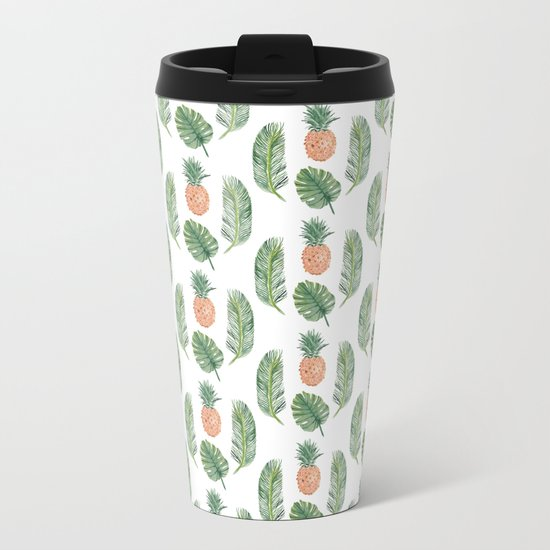 PINEAPPLES AND LEAVES WHITE Metal Travel Mug