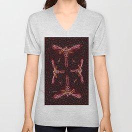 "jjhelene's ""Wild Dragonfly"" Cutout Cookie Design Unisex V-Neck"