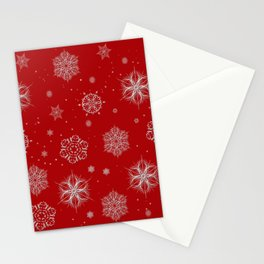 Silver snowflakes Stationery Cards
