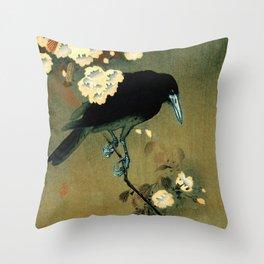 Ohara Koson - Top Quality Art - Crow and Blossom Throw Pillow