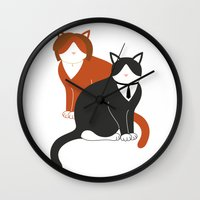 mulder Wall Clocks featuring Mulder and Scully (Important Cats #2) by Catrina and Mouse