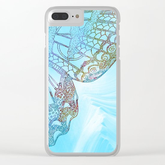 Colorful Abstract Butterfly Design Clear iPhone Case