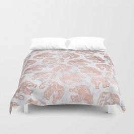 Boho rose gold floral paisley mandala elephants illustration white marble pattern Duvet Cover