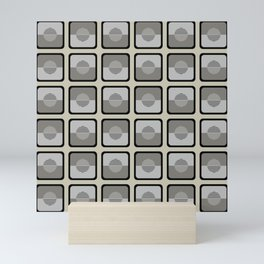Horizons Geometric Pattern - Black Grey Beige Mini Art Print