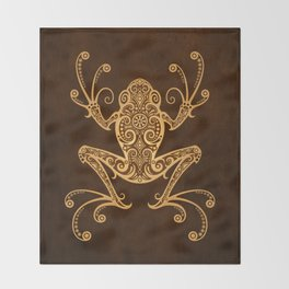 Intricate Golden Brown Tree Frog Throw Blanket