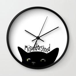 Black Cat Misunderstood Wall Clock