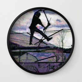 Deck Grab Champion - Stunt Scooter Art Wall Clock