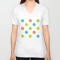 polka dot V-neck T-shirts featuring Colorful polka dot pattern by Nesting Doll Art