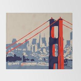 Golden gate bridge vector art Throw Blanket