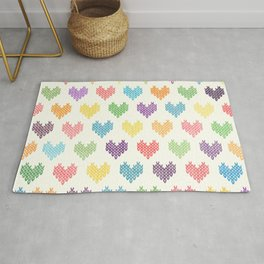 Colorful Knitted Hearts II Rug