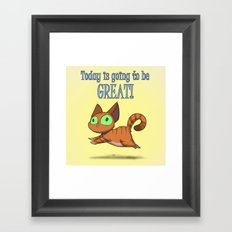 Optimistic Cat Framed Art Print