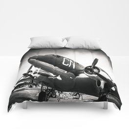 C-47D Skytrain Black and White Comforters