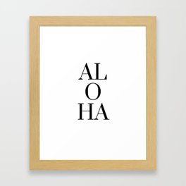 Black And White Aloha Hawiian Tropical Framed Art Print