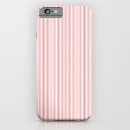 Classic Small Coral Rose Pastel Coral French Mattress Ticking Double Stripes iPhone Case