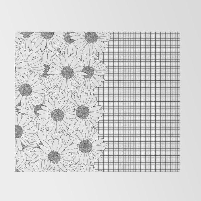 Daisy Grid on Side Throw Blanket