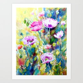 Watercolor purple poppies Art Print