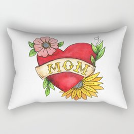 Mom Heat Tattoo Watecolor with Flowers Rectangular Pillow