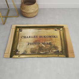 'Charles Bukowski Pissed Here' Framed Marker at Cole's Pacific Saloon, Los Angeles Rug