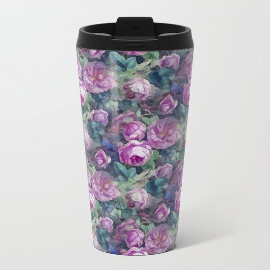 Floral pink roses pattern Metal Travel Mug