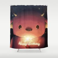 happy birthday Shower Curtains featuring Happy birthday by CookiesOChocola