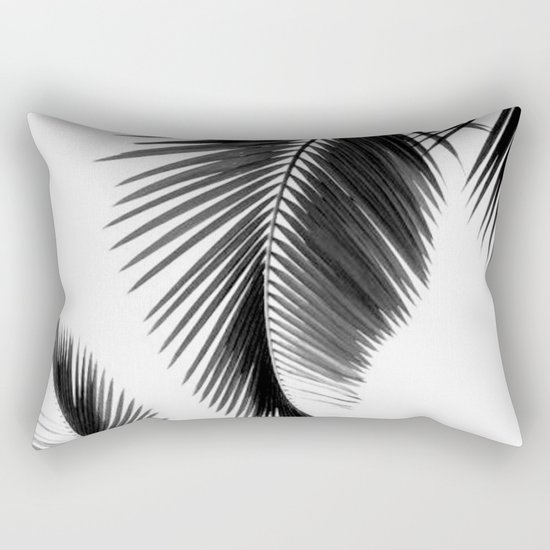 Black and white Leafs Rectangular Pillow