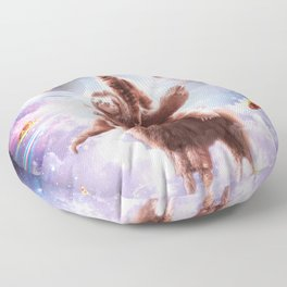 Laser Eyes Space Cat Riding Sloth, Llama - Rainbow Floor Pillow