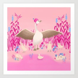 Mommy goose and her little goslings Art Print