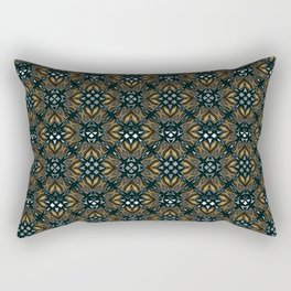 black design shapes ornate on a yellow background Rectangular Pillow
