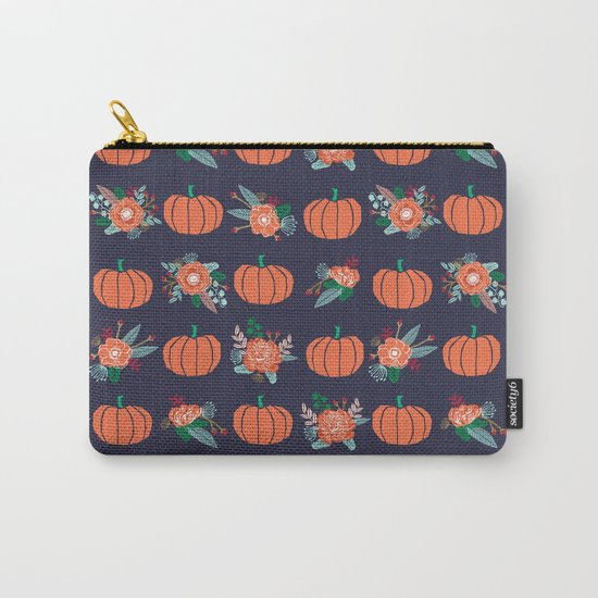 Pumpkin florals cute pattern pillow home decor dorm college seasonal fall autumn Carry-All Pouch