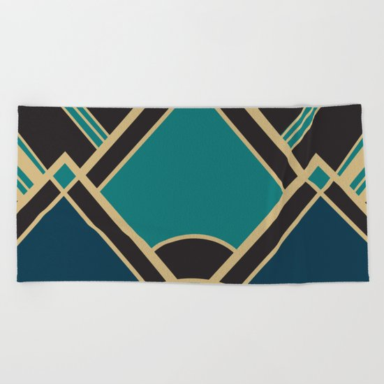 Art Deco New Tomorrow In Turquoise Beach Towel