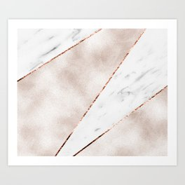 Spliced rose gold marble Art Print
