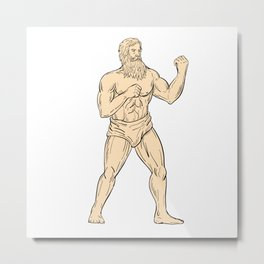 Hercules In Boxer Fighting Stance Drawing Color Metal Print