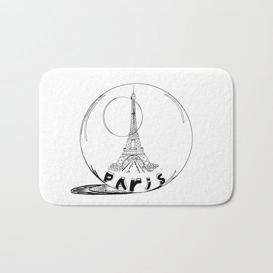paris in a glass ball Bath Mat
