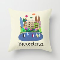 barcelona Throw Pillows featuring Barcelona  by uzualsunday