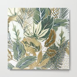 Palms Print, Green and Gold, Botany Print Metal Print