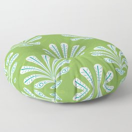Deco Shell Leaf - White & Teal on Moss Green (pattern) Floor Pillow