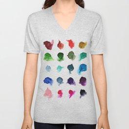 Rainbow Ink Swatch Splotches Painting Unisex V-Neck