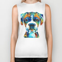 Colorful Boxer Dog Art By Sharon Cummings Biker Tank