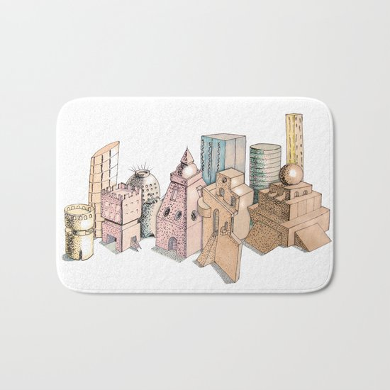 the city painted in pastel colours Bath Mat