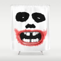 joker Shower Curtains featuring Joker by Mr Meowmer